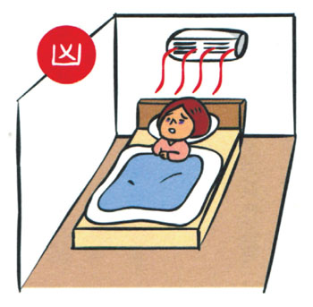 Air-con is directly above your bed