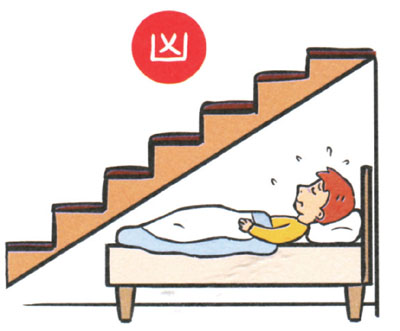 Bed below staircase