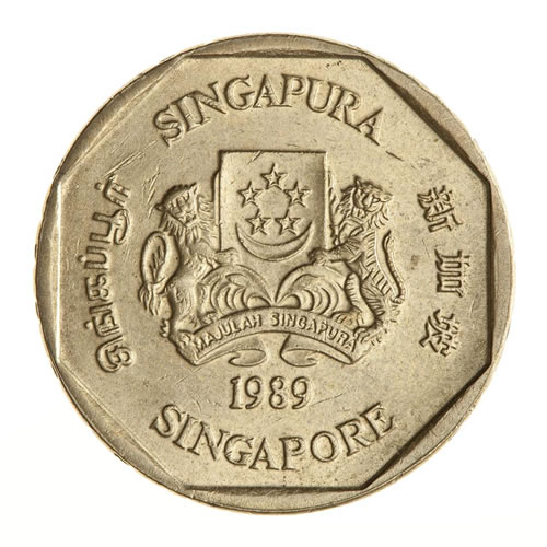 Singapore 1 Dollar Coin 1989