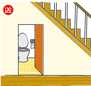 Do not position toilet under staircase