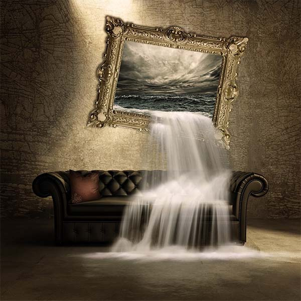 Hanging painting of water