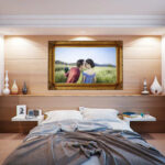 wedding photo above bed